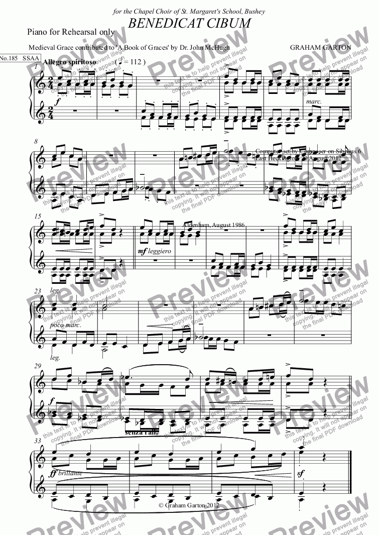 page one of the Piano for Rehearsal only part from GRACE - No.185 of 252 GARTON GRACES Mainly for  Female Voices but sometimes Mixed. 'BENEDICAT CIBUM' for SSAA a cappella