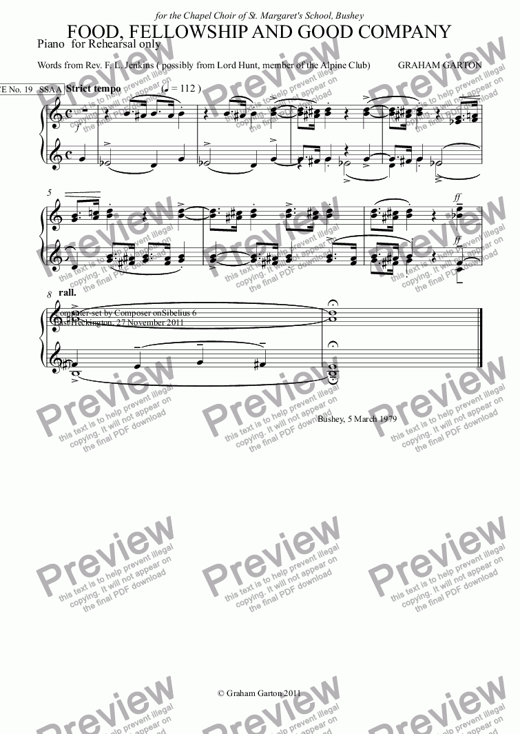 page one of the Piano  for Rehearsal only part from GRACE - No.19 of 252 GARTON GRACES Mainly for  Female Voices but sometimes Mixed.FOOD, 'FELLOWSHIP AND GOOD COMPANY' for SSAA a cappella