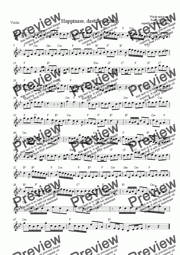 page one of the Violin part from Happiness, destiny of man (aria)