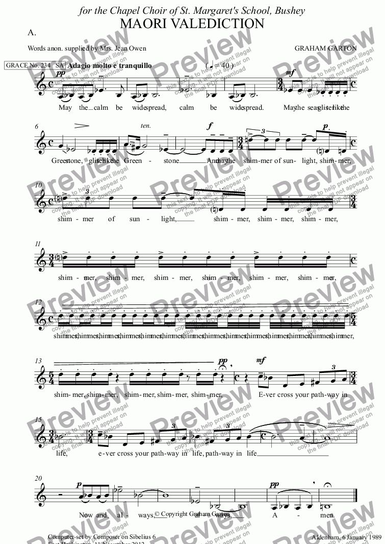 page one of the A. part from GRACE - No.234 of 252 GARTON GRACES Mainly for  Female Voices but sometimes Mixed. 'MAORI VALEDICTION' for SA a cappella