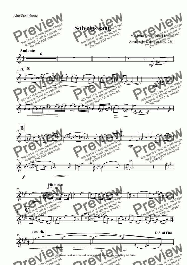 page one of the Alto Saxophone part from Solveigs sang for Eb Alto Saxophone & Keyboard
