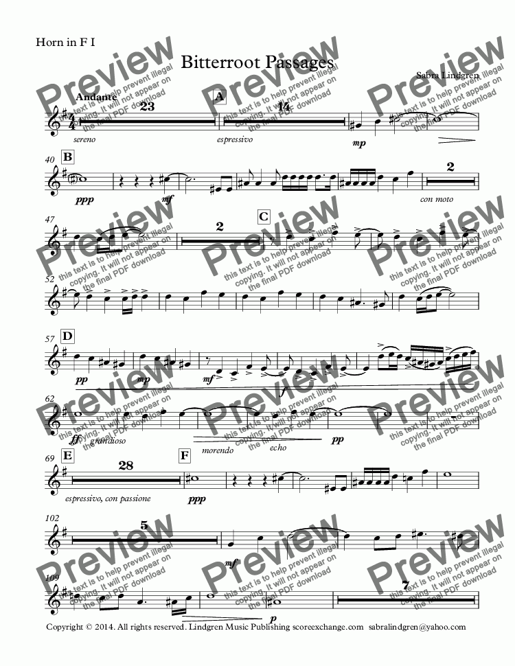 page one of the Horn in F I part from Bitterroot Passages