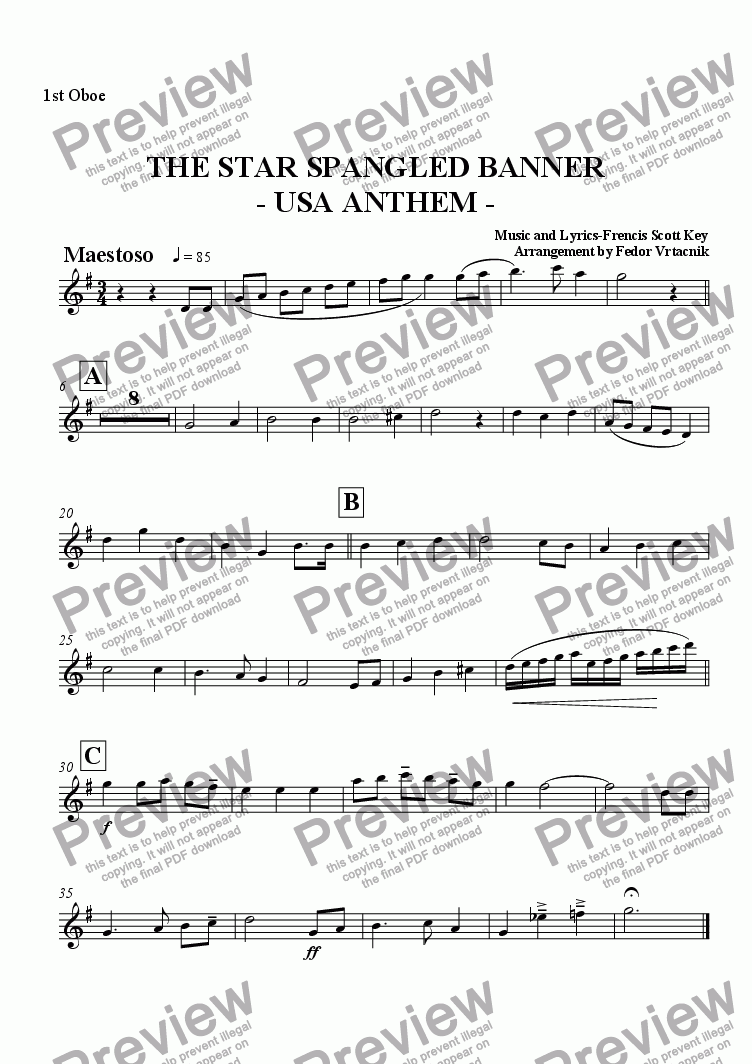 page one of the 1 oboe part from THE STAR SPANGLED BANNER