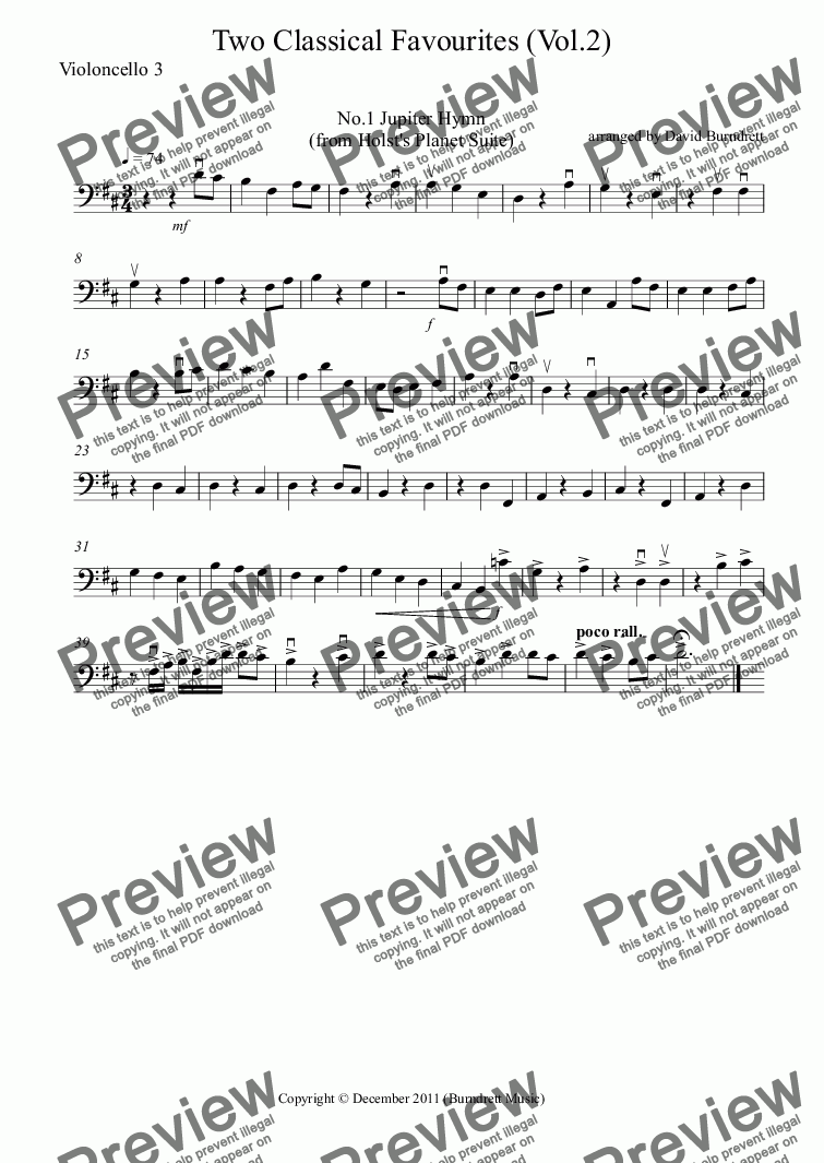 page one of the Violoncello 3 part from 2 Classical Favourites for Cello Quartet (volume two)