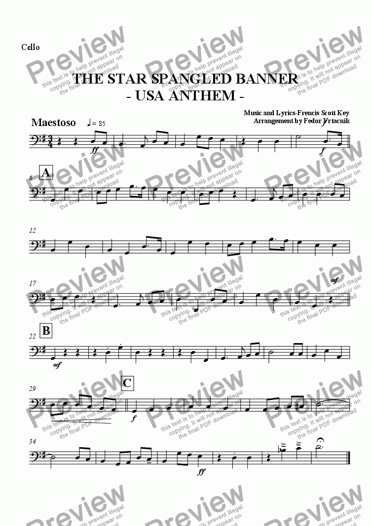 page one of the cello part from THE STAR SPANGLED BANNER