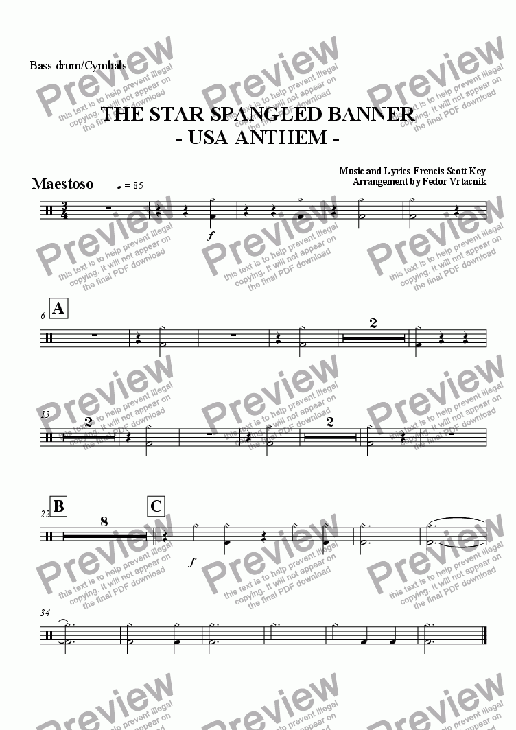 cymbals part from THE STAR SPANGLED BANNER – Star Spangled Banner Worksheet