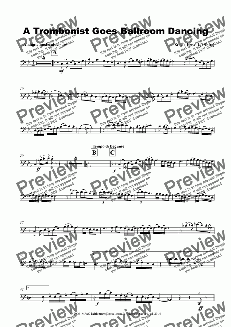 page one of the Trombone part from A Trombonist Goes Ballroom Dancing (Semi Pro)
