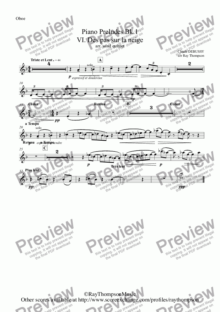 page one of the Oboe part from Debussy: Piano Preludes Bk.1: VI. Des pas sur la neige (Footprints in the snow)(wind quintet)