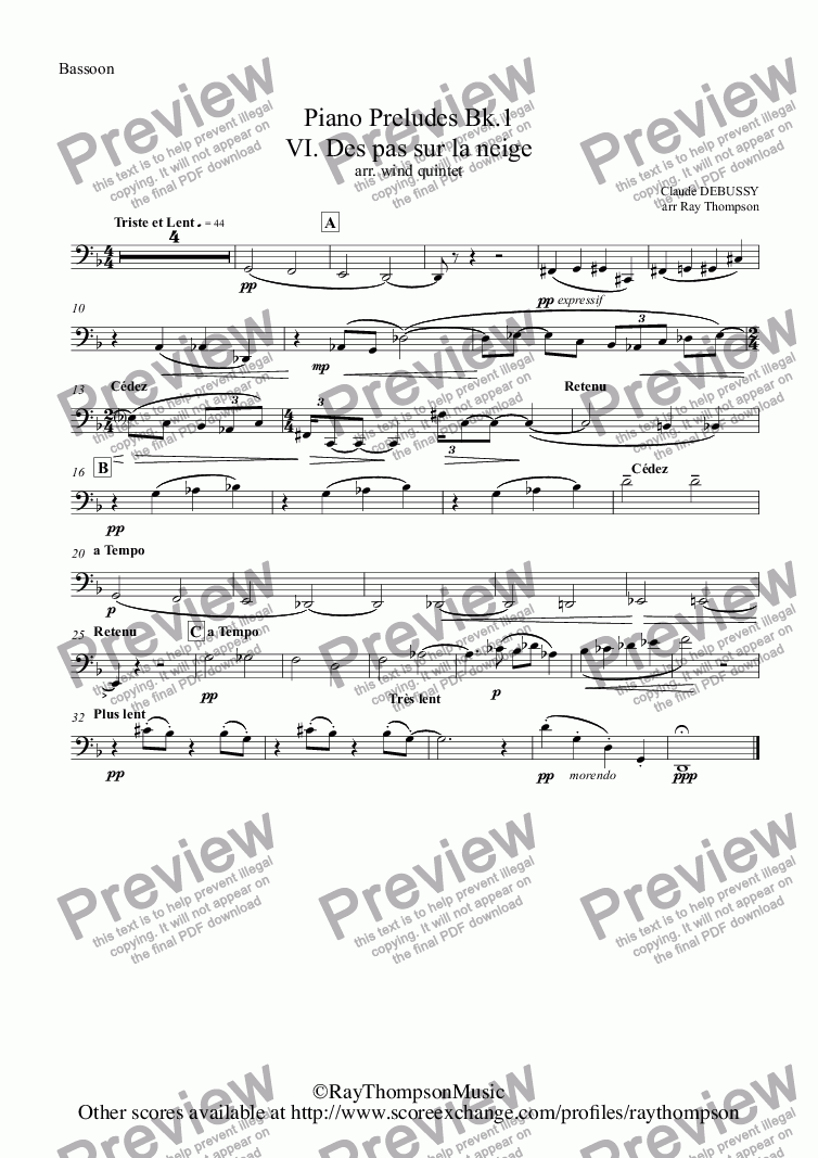page one of the Bassoon part from Debussy: Piano Preludes Bk.1: VI. Des pas sur la neige (Footprints in the snow)(wind quintet)