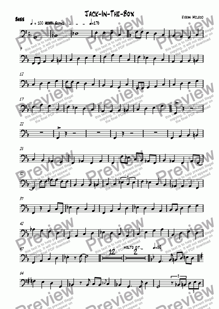 page one of the Bass part from Jack-In-The-Box