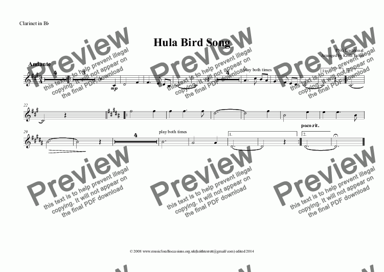 page one of the Clarinet in B^b part from Hula Bird Song for Symphony Orchestra