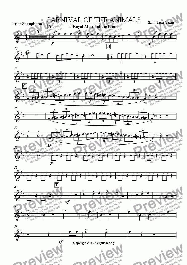page one of the tenor sax part from March of the Royal Lions: Carnival of the Animals