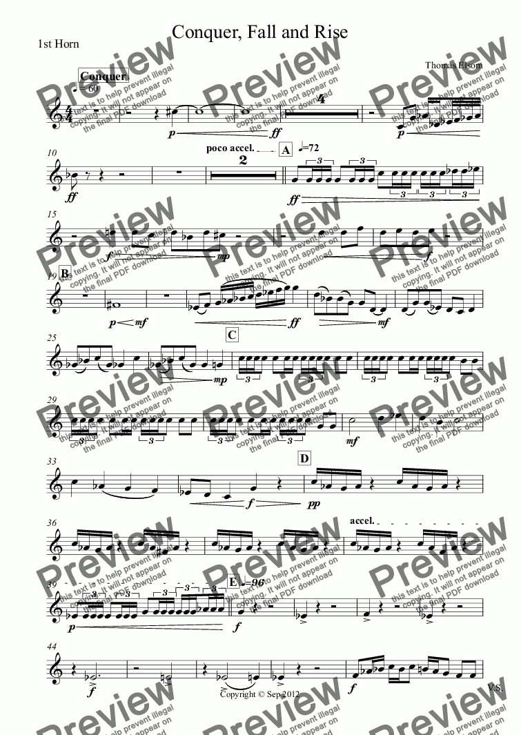 page one of the 1st Horn part from Conquer, Fall and Rise