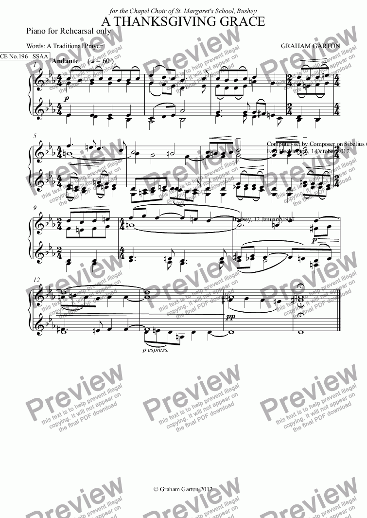 page one of the Piano for Rehearsal only part from GRACE - No.196 of 252 GARTON GRACES Mainly for  Female Voices but sometimes Mixed. 'A THANKSGIVING GRACE' SSAA a cappella
