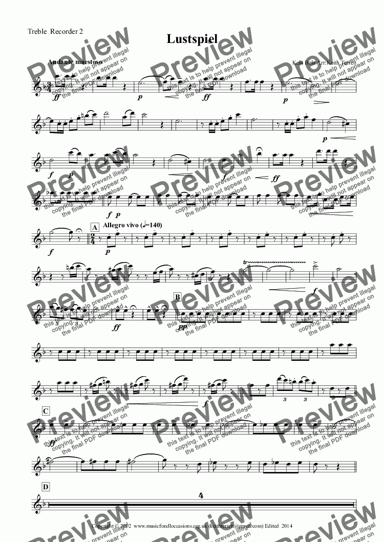 page one of the Treble  Recorder 2 part from Lustpiel Overture for Recorder Consort