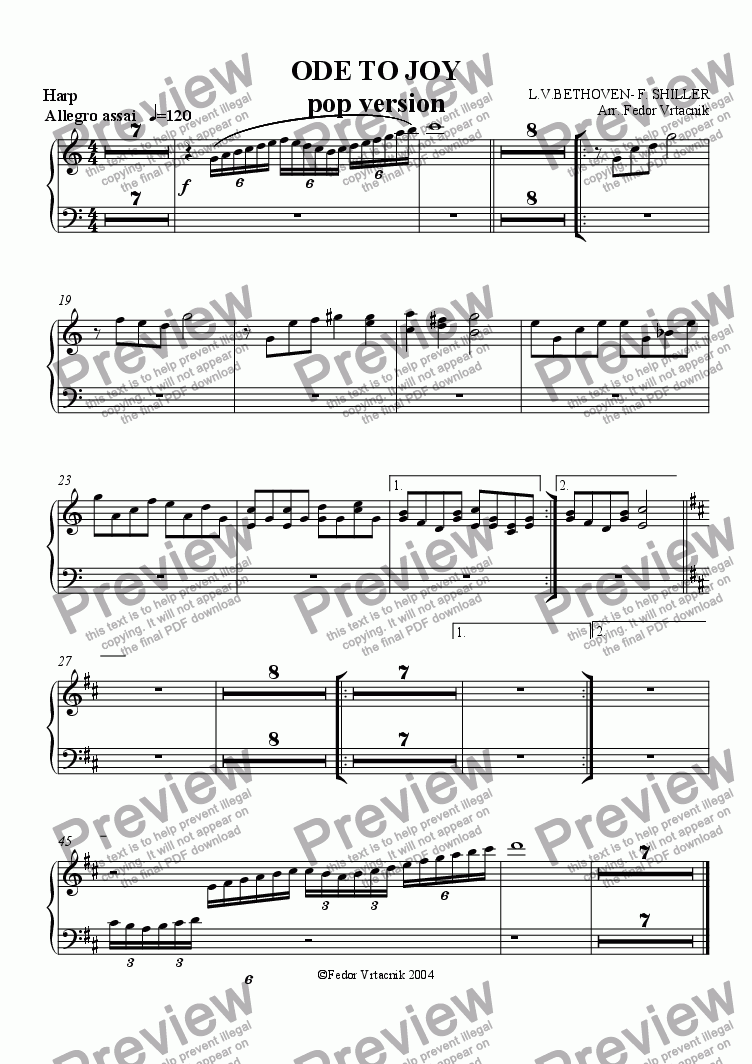 page one of the harp part from ODE TO JOY-pop version