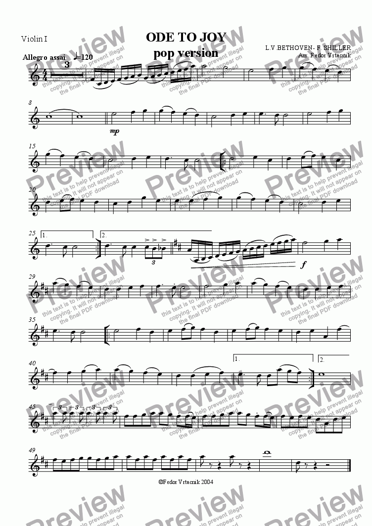 page one of the violin1 part from ODE TO JOY-pop version