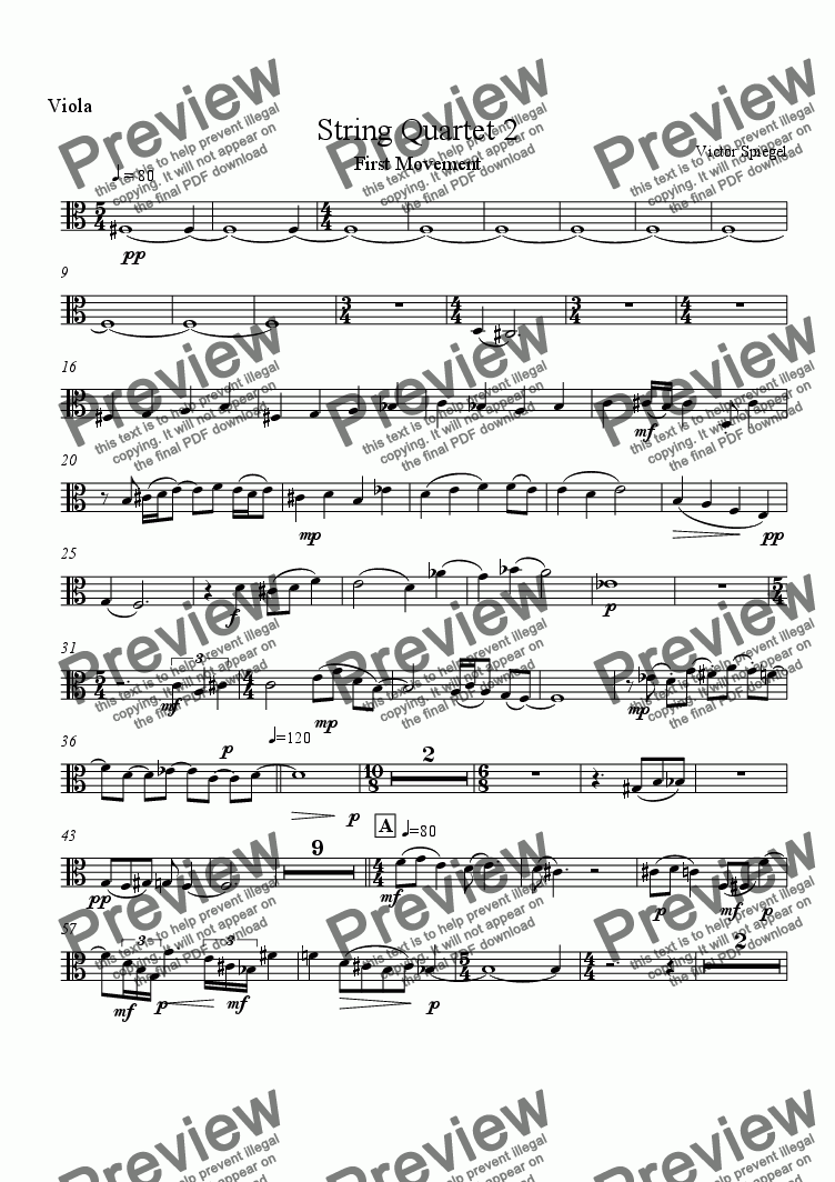 page one of the Viola part from String Quartet No. 2