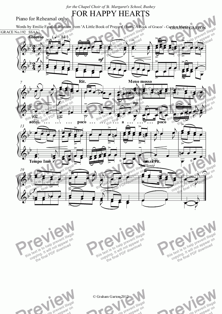 page one of the Piano for Rehearsal only part from GRACE - No.192 of 252 GARTON GRACES Mainly for  Female Voices but sometimes Mixed. 'FOR HAPPY HEARTS' for SSAA a cappella