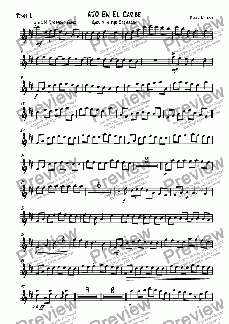 page one of the Tenor 1 part from AJO En El Caribe