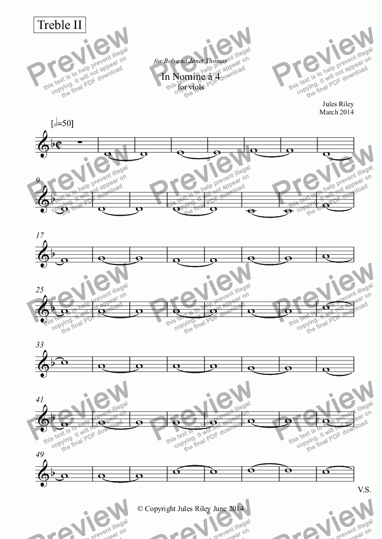 page one of the Treble II part from In Nomine à 4 for viol consort [2014]