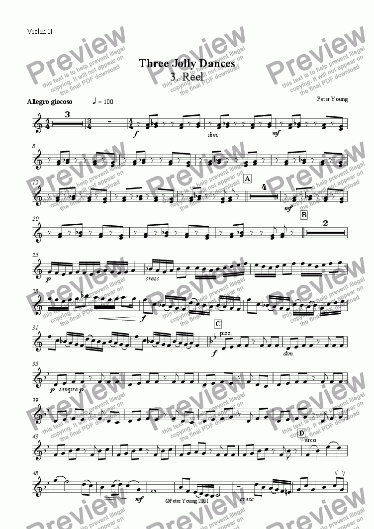 page one of the Violin 2 part from Three Jolly Dances -  3. Reel