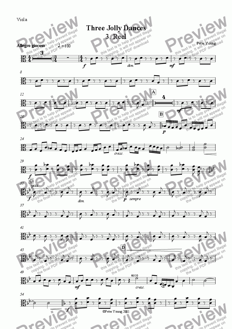 page one of the Viola part from Three Jolly Dances -  3. Reel