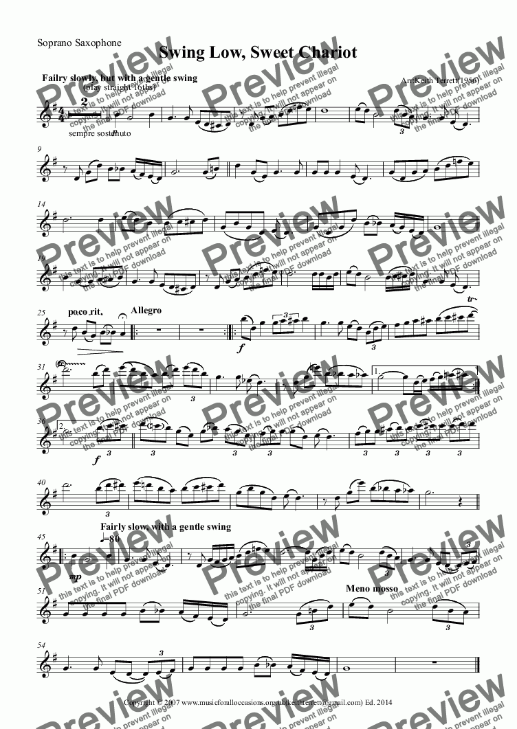 page one of the Soprano Saxophone part from Swing Low, Sweet Chariot for Bb Soprano Saxophone & Keyboard