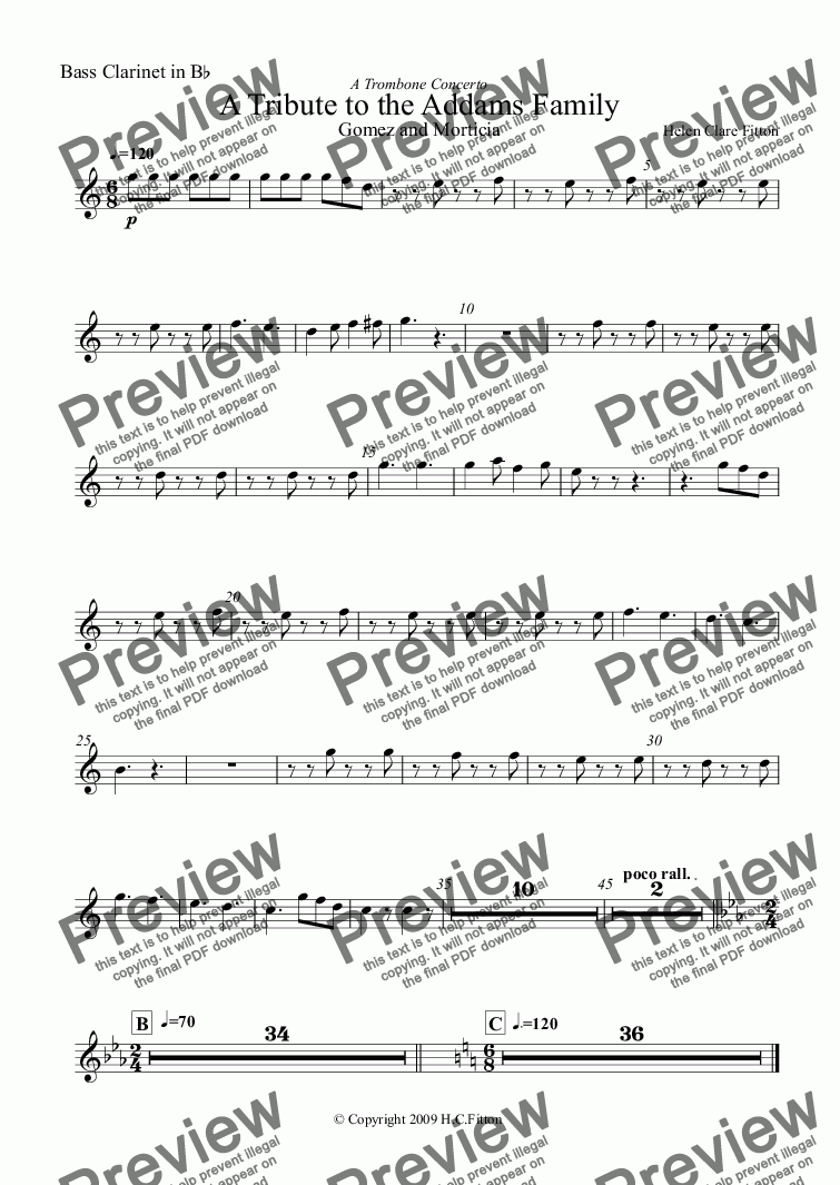 page one of the Bass Clarinet in B^b part from A Tribute to the Addams Family