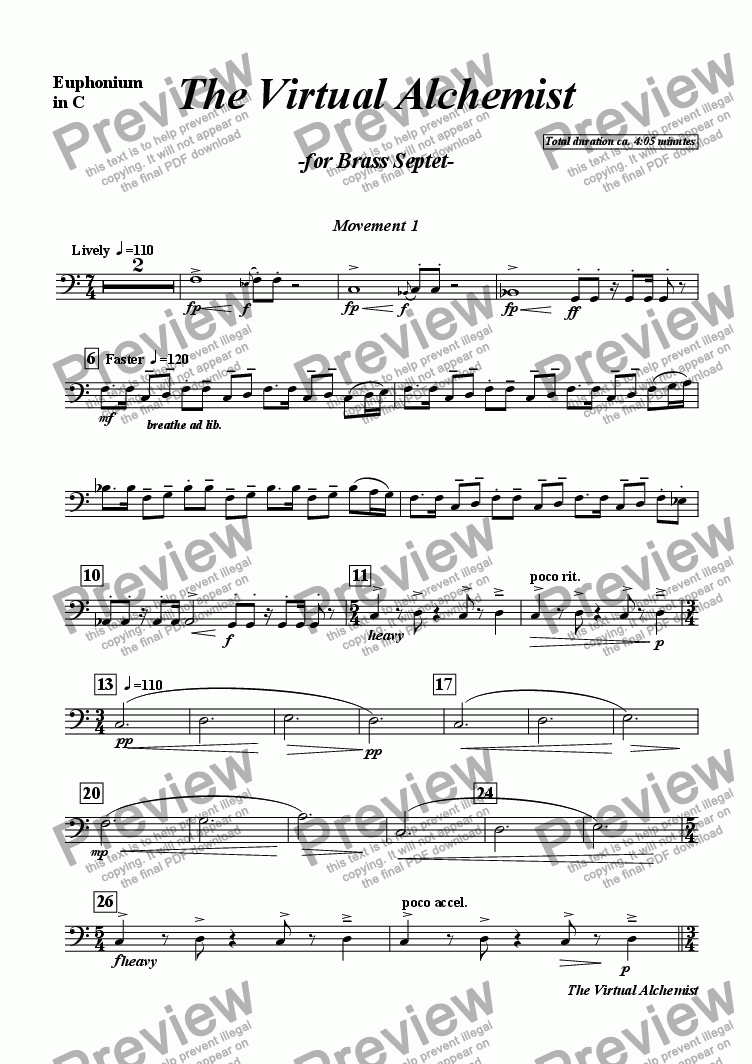 page one of the VI B Euphonium in C part from The Virtual Alchemist (brass septet)