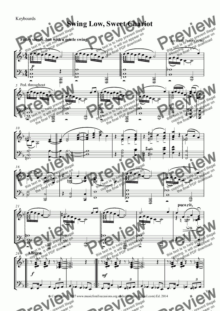 page one of the Keyboards part from Swing Low, Sweet Chariot for Bass Clarinet & Piano