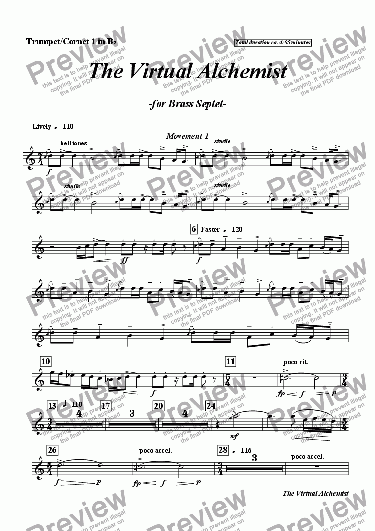 page one of the I B Tpt./Cnt. 1 in Bb part from The Virtual Alchemist (brass septet)