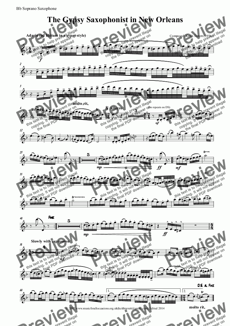 page one of the Bb Soprano Saxophone part from The Gypsy Soprano Saxophonist in New Orleans (Bb Soprano & Piano)
