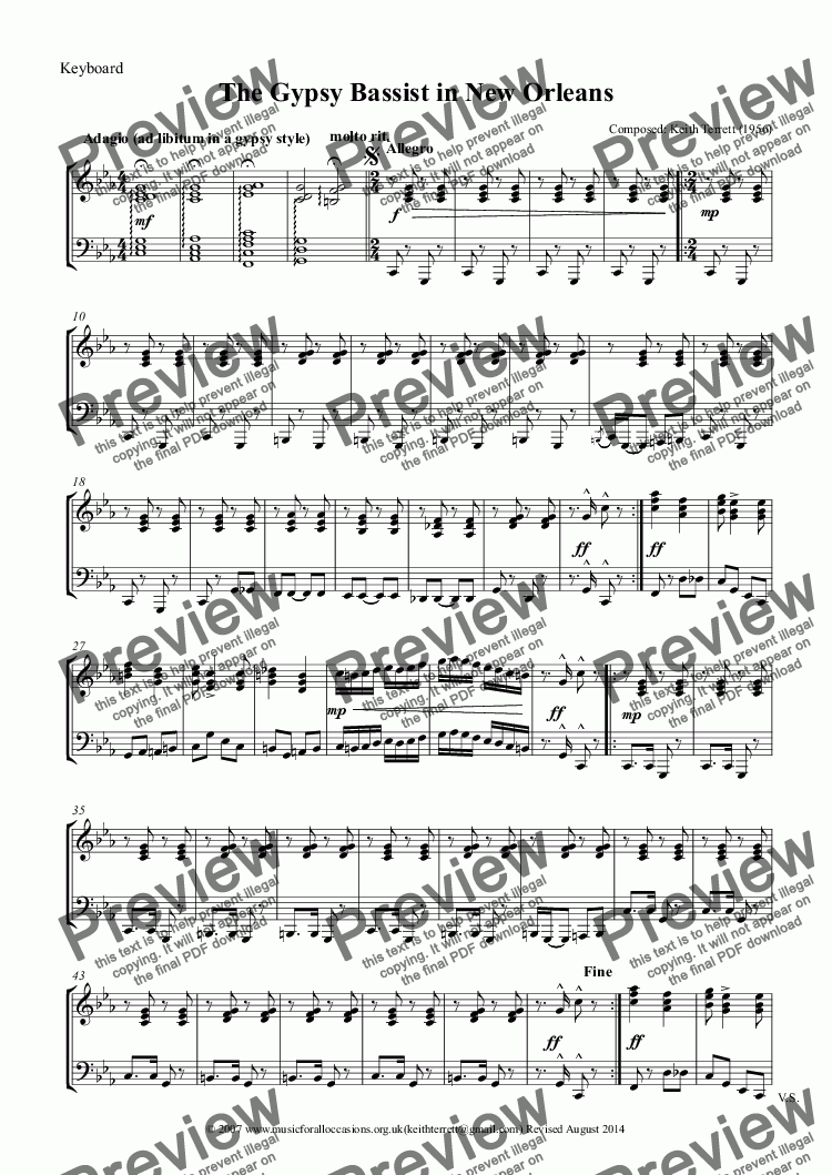 page one of the Keyboard part from The Gypsy Tuba Player in New Orleans (Eb Treble Clef)