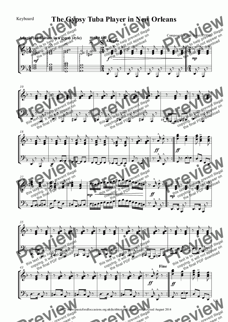 page one of the Keyboard part from The Gypsy C Tubist in New Orleans (Bass Clef)