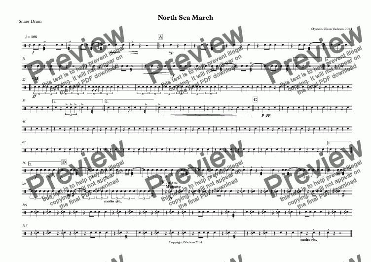 page one of the Snare Drum part from North Sea March