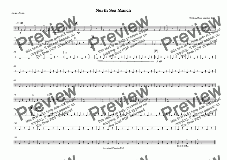 page one of the Bass Drum part from North Sea March