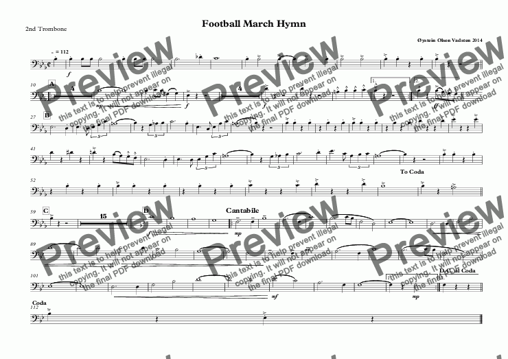 page one of the 2nd Trombone part from Football March Hymn