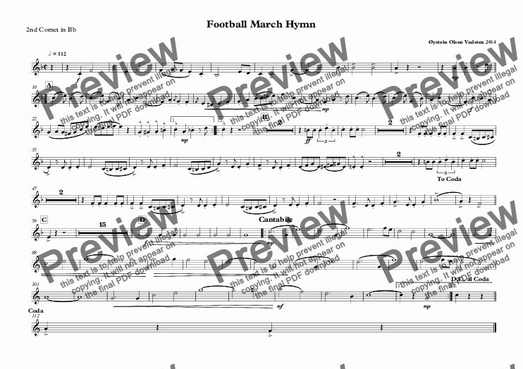 page one of the 2nd Cornet in Bb part from Football March Hymn