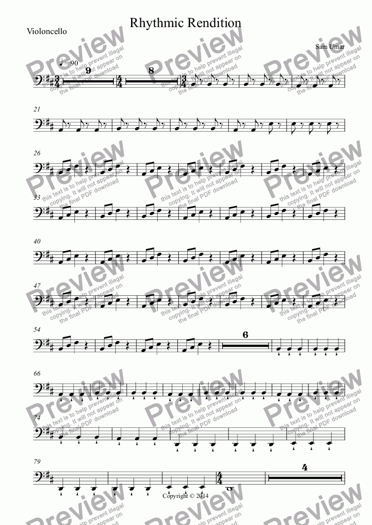 page one of the Violoncello part from Rhythmic Rendition