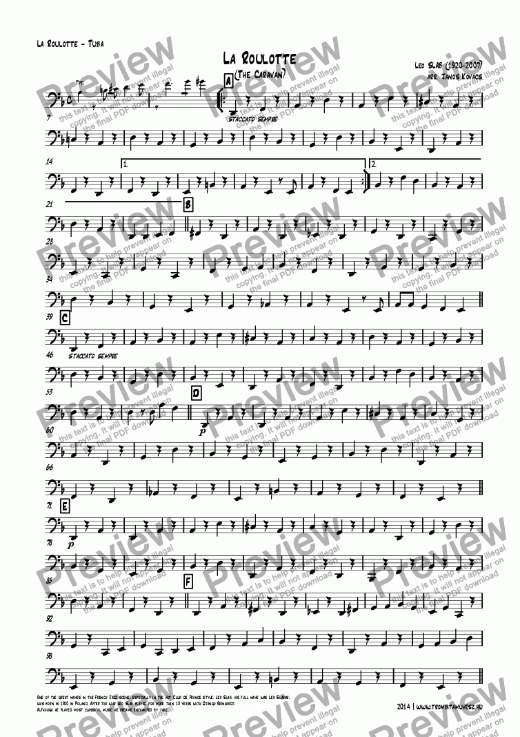 page one of the La Roulotte - Tuba part from La Roulotte (The Caravan)