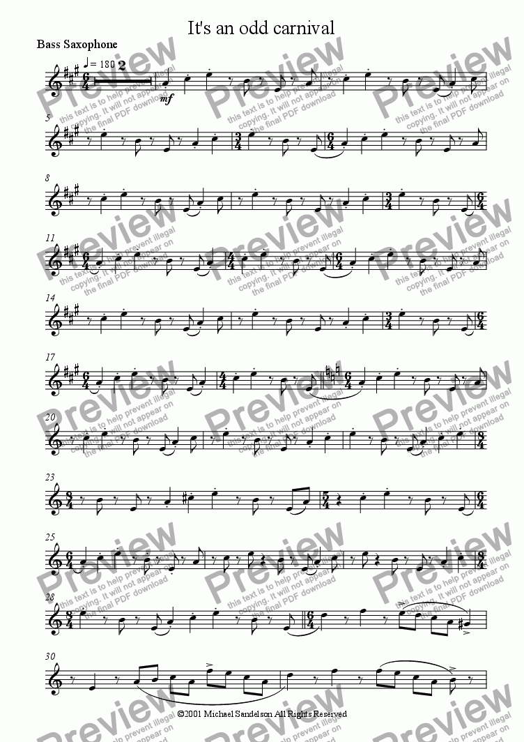 page one of the Bass Saxophone part from It's an odd carnival