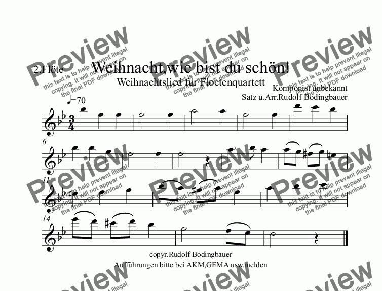 page one of the 2.Floete in C part from Weihnacht,wie bist du schön! Floetenquartett