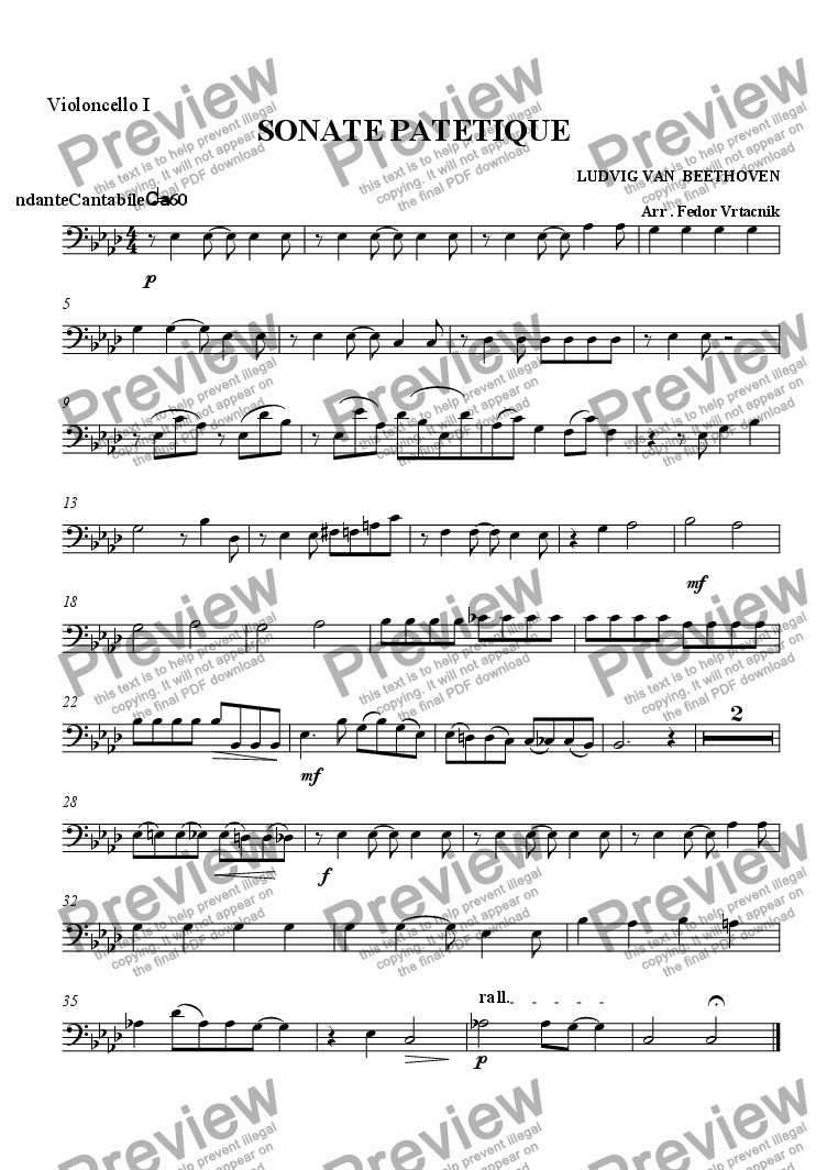 page one of the violoncello 1 part from SONATE  PATETIQUE - STRING ORCHESTRA