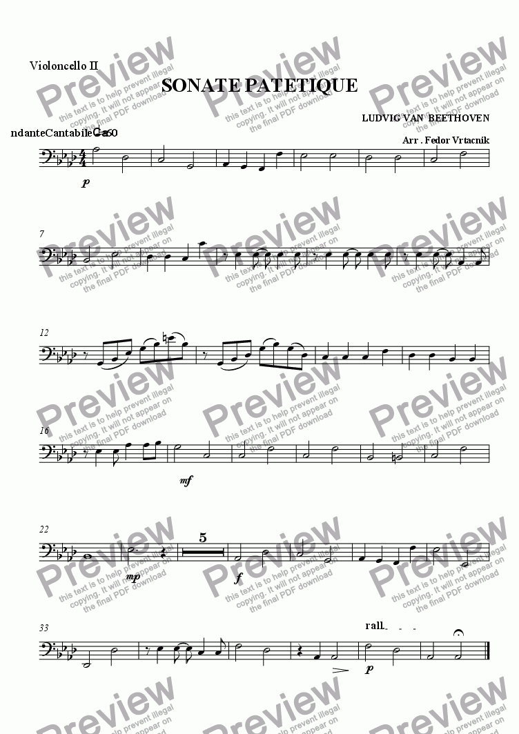 page one of the violoncello 12 part from SONATE  PATETIQUE - STRING ORCHESTRA