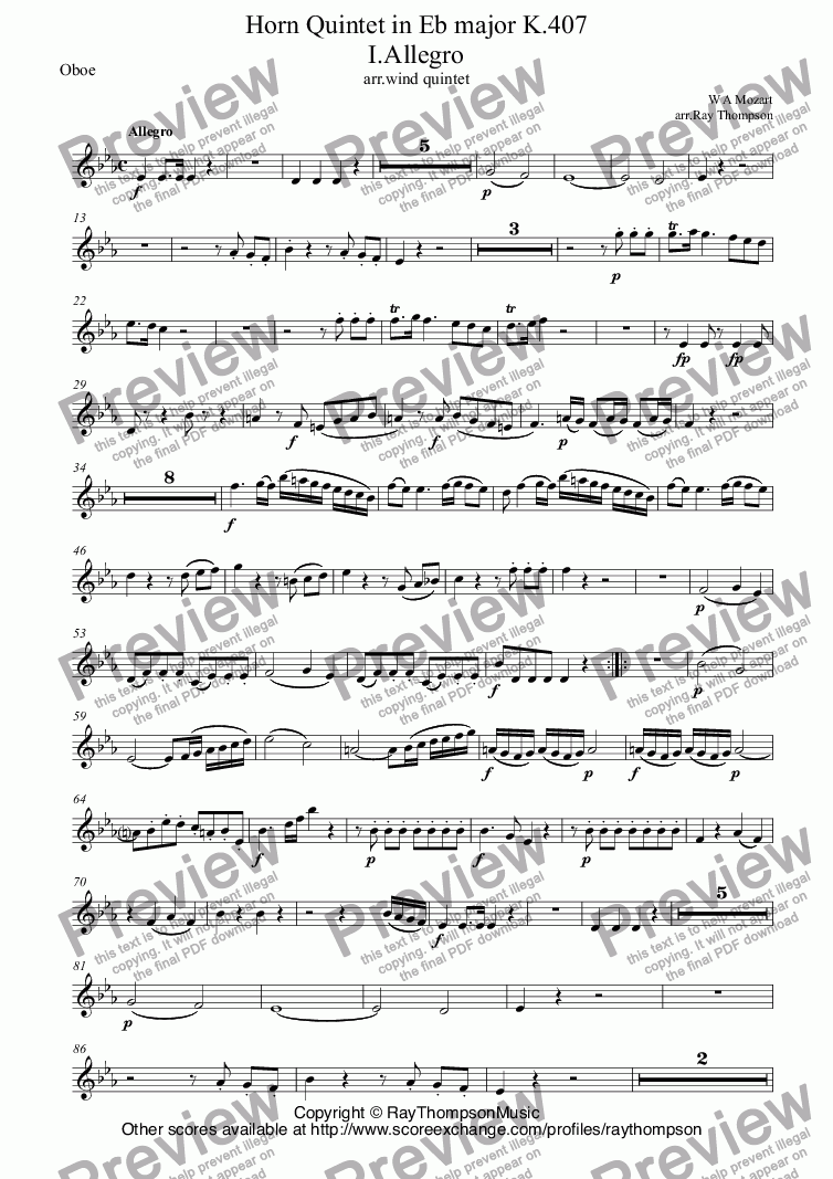 page one of the Oboe part from Mozart: Horn Quintet in Eb major K.407 I.Allegro (arr.wind quintet)