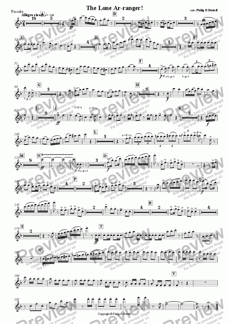 page one of the Piccolo part from The Lone Ar-ranger! (Pops Orchestra)