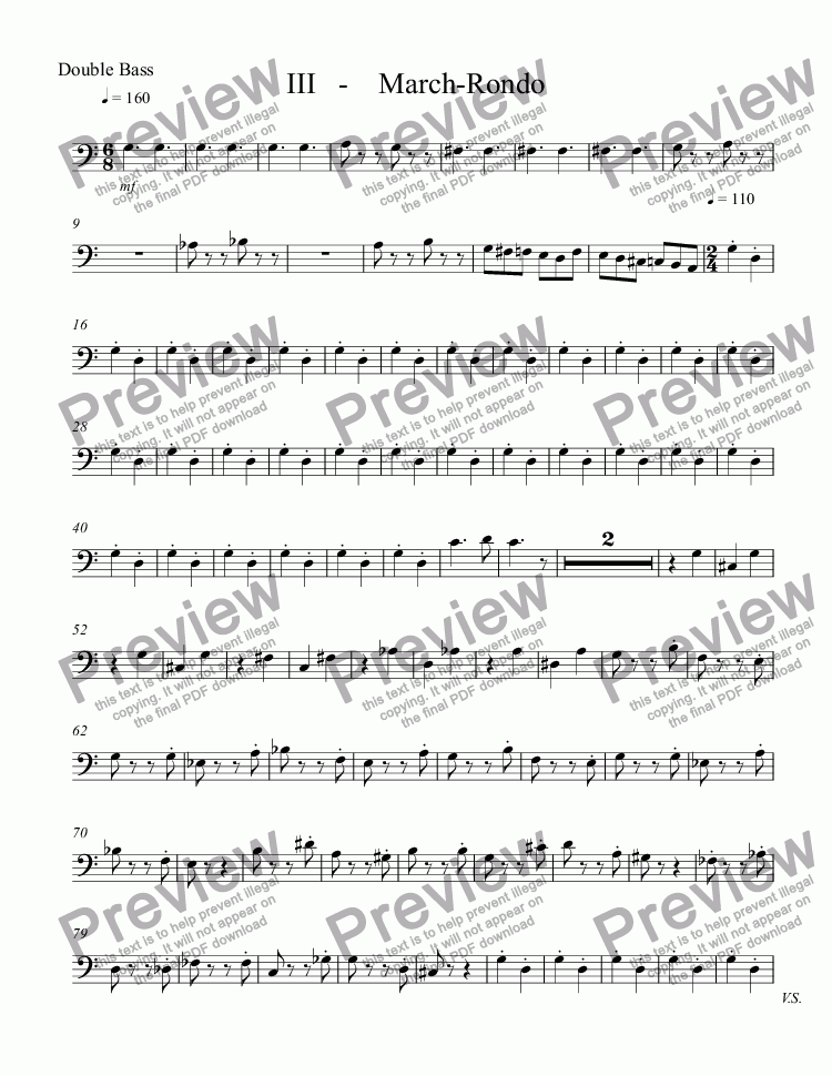 page one of the Double Bass part from III  March-Rondo  3rd Mvt. Music for Metalophones
