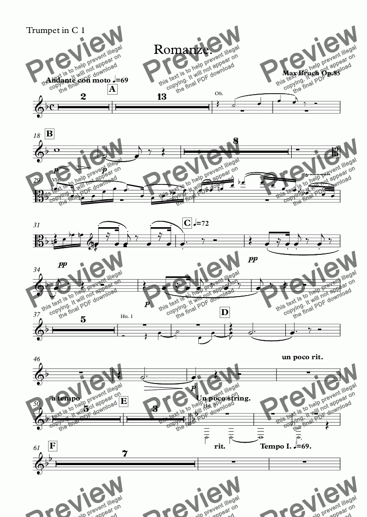 page one of the Trumpet in C 1 part from Bruch - Romanze for Viola and Orchestra Op. 85