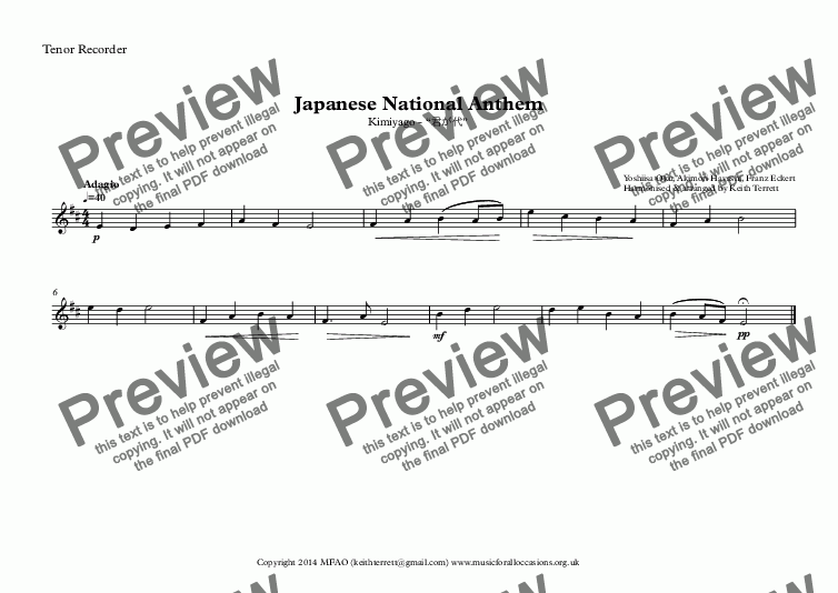 page one of the Tenor Recorder part from Japanese National Anthem for Recorder Consort